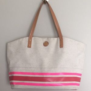 Tory Burch canvas and leather tote